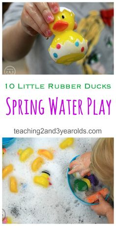 This toddler spring sensory play activity is inspired by Eric Carle's Book, 10 Rubber Ducks. It's a soothing water activity that also builds fine motor skills while using sponges and transporting the ducks in their containers. Spring Activities, Literacy Activities, Infant Activities, Activities For Kids, Indoor Activities, Indoor Games, Outdoor Games For Preschoolers, Preschool Science, Toddler Preschool