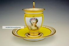 Early 19c Sevres Imperial Porcelain Portrait Cup & Saucer Cups & Saucers photo