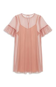 Primark - Blush Mesh Fluted Sleeve Dress