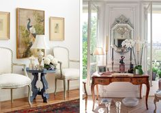 On the left, a gray-blue coffee table is adorned with a mini sculpture, flowers, and a table lamp. Hanging behind the table are antique artworks exuding vintage charm. On the right is a lavish mirror and traditional-style desk displaying flowers, long candles, and sentimental framed photographs.