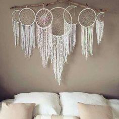 Drift wood white shell leather hemp organic natural tassle Moon phases dream catcher khaki bedroom diy bed headboard
