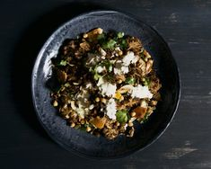 Cauliflower and Chickpea Salad With Almonds, Fried Onion and Sultanas