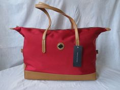 NWT Women's Tommy Hilfiger Tote Shoulder Hand Bag Purse XLarge Red Brown #TommyHilfiger #TotesShoppers