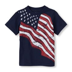 This grand ol' graphic tee features a waving American flag for an Americana summer!