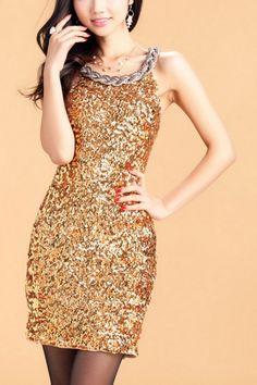 Sexy Sequins Embellished Dress OASAP.com