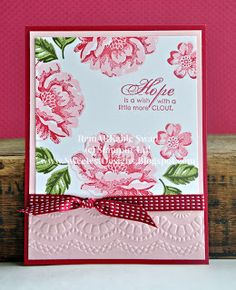 Stippled Blossoms is a great two-step stamp set.  With careful precision or a Stamp-A-Ma-Jig you can have flawless two-step stamping.  Here...