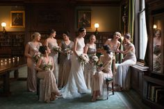 Metropolitan Club - photo of someone else's bridal party (with metallic toned dresses) in library.