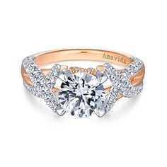 Gabriel & Co Peppa 18k White And Rose Gold Round Twisted Engagement Ring- Glittering ribbons of white gold and pave diamonds twist and turn around a polished rose gold band in this lush round cut engagement ring.