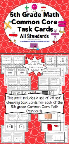 5th Grade Common Core Math Task Cards: Your planning just got easier with these 5th grade math Common Core task cards. This 450+ page resource has a set of 28 task cards for each of the 5th grade Common Core Standards in math. Wow! $