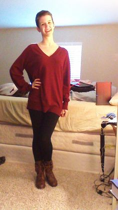 Daily Outfit!  In an attempt to combat the cold sweater, I am wearing an oversized oxblood sweater from Target and high-waisted fleece-lined leggings from Charlotte Russe. For shoes I am wearing brown military boots with plaid lining from Charlotte Russe.