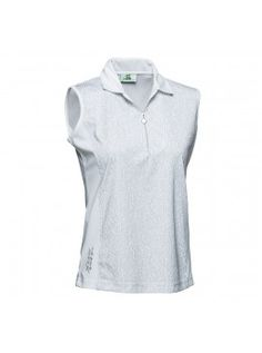 Daily Sports USA Women's Printed Sleeveless Golf Polo Shirt-White and Gray