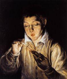 """""""A boy blowing on an ember to light border"""". El Greco.    Veredas da Língua: José Régio – Poemas"""