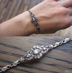 Antique rose cut diamond bracelet in silver topped gold. Central plaque dates to 1840, link bracelet from 1950. From Doyle & Doyle.