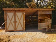 Wood shed by CJ Walk Awesome half wood shed half storage shed. For tools lawn mowers gardening Christmas stuff yard equipment yard tools c Wood Storage Sheds, Outdoor Storage Sheds, Garden Tool Storage, Storage Shed Plans, Outdoor Sheds, Storage Ideas, Firewood Shed, Firewood Storage, Yard Tools