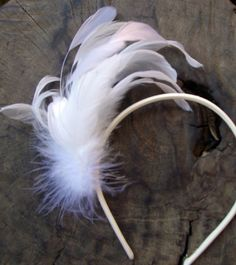 Feather Headband White Ostrich & Coque Feathers $29