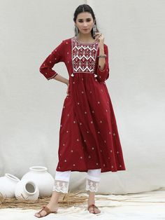Indian Attire, Indian Ethnic Wear, Cotton Pants, Lace Detail, High Neck Dress, Ivory, Diy Butterfly, How To Wear, Kurti