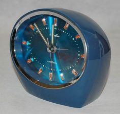 Vintage Retro 1970s Blue Oval Rhythm Wind up Desk Alarm Clock Japan Working