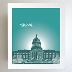 Missouri Skyline State Capitol Landmark - Modern Gift Decor Art Poster 8x10. $20.00, via Etsy.