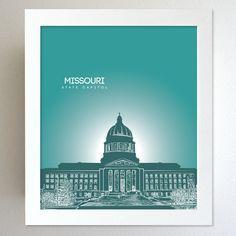 Missouri Skyline State Capitol Landmark - Modern Gift Decor Art Poster 8x10. $20.00, via Etsy.