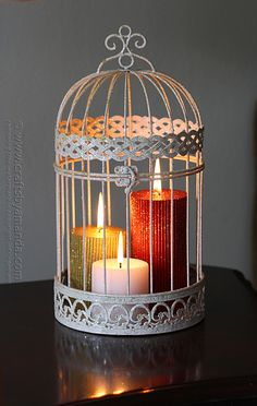 Glitter Candles in a Bird Cage @Amanda Formaro Crafts by Amanda - in the summer, I used my bird cage for a lovely trailing plant.  Now I have an idea for winter.