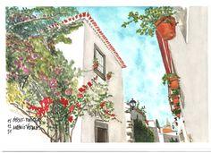 Óbidos / Portugal - Aguarelas / Watercolors Feliz Ano Novo de 2016 / Happy New Year 2016