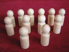12 No. 5  Large Boy or Man Peg Dolls Unfinished Hardwood. $4.20, via Etsy. - For Superhero peg dolls