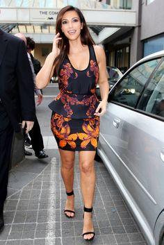 Kim Kardashian in a lovely floral peplum by Josh Goot.