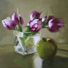 Tulips+and+Apple+Floral+Still+Life+Painting,+painting+by+artist+Diane+Hoeptner