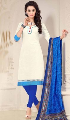 Express a new desire for elegance donning this off white color shade cotton churidar dress. The attractive lace and resham work across dress is awe-inspiring. #offwhitecottondress #straightcutsuit #churidardresses