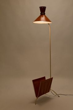 Pierre Guarriche, Floor Lamp Magazine Holder for Disderot, 1950s.