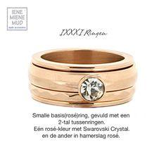 IXXXI Jewelry   Ringen, zijn #ringen die uzelf kunt samenstellen. U begint met uw keuze voor een smalle of een brede uitvoering (beide 14,95 euro). Deze #basisring draait u uit elkaar, en vult deze dan naar eigen keuze #tussenringen van #IXXXI# (vanaf 12,50 tot 17,50). De keuze is reuze...dus wilt u zilver, goud of rosékleurige tusenringen, met steentjes, tekst of parels etc etc, creëer lekker uw eigen smaak en u bent helemaal hip & trendy. :-) Tot binnenkort in Winkelcentrum Middenwaard.