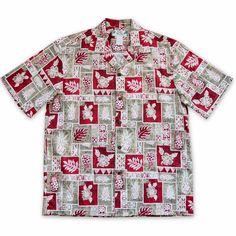 Castaway Red Hawaiian Cotton Shirt #hawaiian #madeinhawaii