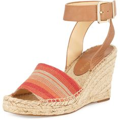 Ivanka Trump Dalinda Canvas Wedge Sandal ($38) ❤ liked on Polyvore featuring shoes, sandals, wedges, coral, strap sandals, strappy sandals, strappy platform sandals, ankle wrap sandals and ankle strap sandals