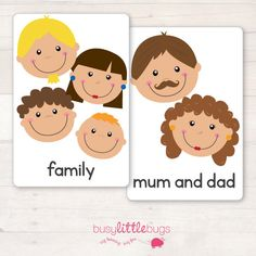 *** NEW DESIGN***  There are 28 brightly coloured, high quality printable flash cards,all about families. In this pack, you will find the following flash cards:   Mum & Dad  Mother  Father  Baby Sister  Baby Brother  Sister  Brother  Grandmother  Grandfather  Grandparents  Uncle  Aunty  Cousins  Step Mum  Step Dad  Step Brother  Step Sister  Step Family  Half Brother  Half Sister  Adoptive Parents  Foster Parents  Carers  Parents both male  Parents both female  Family ♥ ♥ ♥ HOW TO ASSEMBL...