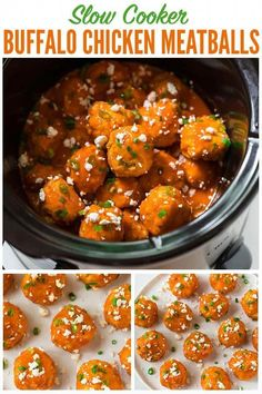 An easy, DELISH appetizer for football games and easy meals! Fun and healthy, these low slow cooker chicken meatballs are great for parties, family dinners, and the Super Bowl too. via wellplated Buffalo Chicken Meatballs, Crock Pot Meatballs, Slow Cooker Recipes, Crockpot Recipes, Healthy Recipes, Super Bowl, Slow Cooker Chicken, Clean Eating Snacks, Healthy Eating