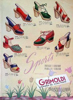 Grimoldi Gorgeous Spanish 40s Wedges, Vintage Shoe Ad