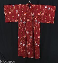BHTK - 浴衣 Japanese traditionnal Yukata - Red Daruma L SIZE - MADE IN JAPAN