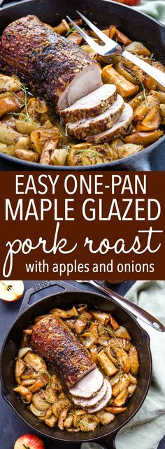 Easy One Pan Maple Glazed Pork with Apples & Onions The Bus.- Easy One Pan Maple Glazed Pork with Apples & Onions The Busy Baker One Pot Meals, Main Meals, Pork Roast Recipes, Cooking Recipes, Healthy Recipes, Healthy Meals, Healthy Dishes, Pasta Recipes, Crockpot Recipes