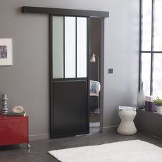 Porte coulissante verre trempé revêtu Atelier ARTENS, 204 x 73 cm   Leroy Merlin