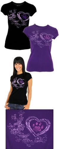 Renaissance Heart Purple Paw Tee and the purchase can benefit your choice of Animal Rescue, Veterans, Literacy, Hunger, Rainforest, etc...