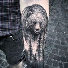 http://www.tattooesque.com/bear-in-the-woods-dot-work-tattoo/