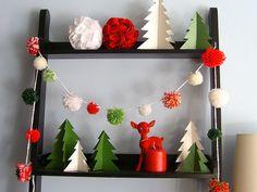 Yarn pom pom garland. Paper trees. #Christmas