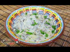 Reteta de Ciulama de Ciuperci cu Usturoi - YouTube Romanian Recipes, Romanian Food, Cheeseburger Chowder, Soup, Youtube, Zucchini, Mushrooms, Easy Meals, Cooking