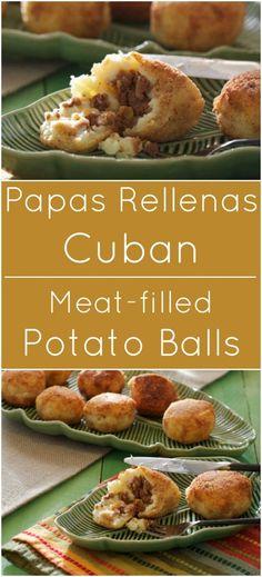 Papas Rellenas are traditional Cuban potato balls filled with ground meat. food cuban Papas Rellenas {Cuban Meat Balls} - What A Girl Eats Cuban Dishes, Beef Dishes, Potato Recipes, Beef Recipes, Cooking Recipes, Meat Appetizers, Appetizer Recipes, Fall Appetizers, Papas Rellenas Recipe