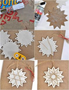 Embeleze estrelas de papelão com fio de juta - Basteln Advent/Weihnachten Kindi - Artesanato Christmas Origami, Christmas Star, Winter Christmas, Holiday, Kids Crafts, Diy And Crafts, Paper Crafts, Paper Paper, Wood Crafts