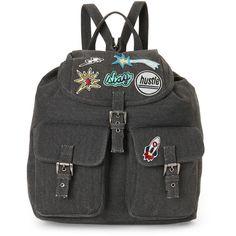Steve Madden Charcoal Dillan Flap Backpack (78 BRL) ❤ liked on Polyvore featuring bags, backpacks, grey, steve madden, drawstring knapsack, fold over flap backpack, drawstring bags and foldable daypack