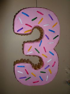 Number Three Piñata Dressed like a Donut by pinatarte1 on Etsy