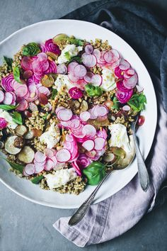 Mediterranean Five Grain Rainbow Salad = the prettiest lunch we could toss together!