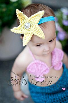 Ravelry: Mermaid Headband with Starfish or Anemone Flower pattern by Crochet by Jennifer