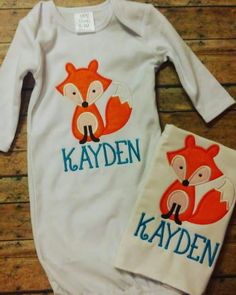 Newborn gown. Burp cloth. Fox. Embroidery. Braylee's Sew Sweet Boutique